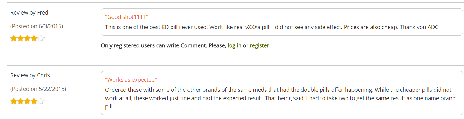 Customers named Chris and Fred posted their comments on the alldaychemist